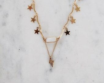 Stormy Skies Dangle Necklace, lightning bolt necklace, moonstone necklace, star necklace, gypset jewelry, gypsetco