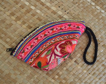 Hmong Embroidered Wristlet Clutch Purse