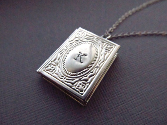 Personalized locket necklace silver book locket with initial personalized locket necklace silver book locket with initial personalized necklace miniature book necklace engraved graduation gift aloadofball Gallery
