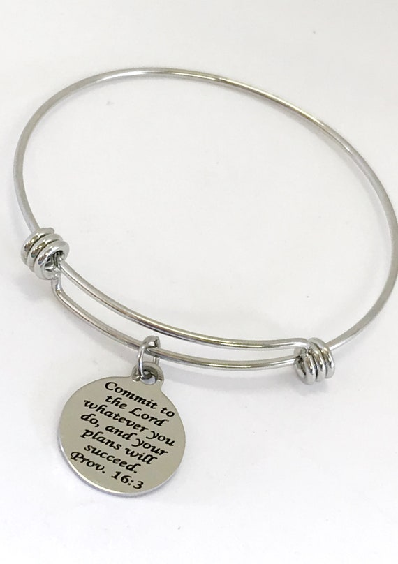 Christian Jewelry, Christian Bracelet, Christian Gift, Scripture Jewelry, Commit To The Lord Bracelet, Daughter Jewelry Gift, Proverbs 16 3