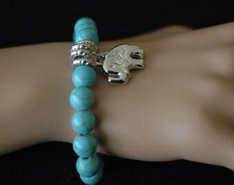 Elephant, Stretch Bracelet, Elephant charm Bracelet, Dangle bracelet, Turquoise bracelet, Gift for her