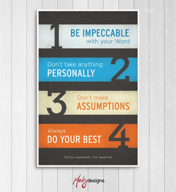 The four agreements inspirational typographic poster print the four agreements inspirational typographic poster print 11x17 platinumwayz