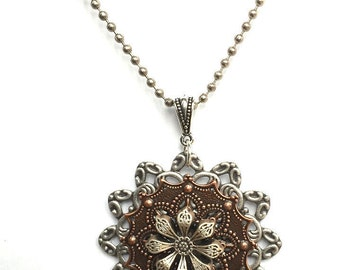 Flower Necklace - Steampunk Flower Pendant - Flower Pendant - Flower Jewelry - Unique  Flower Pendant - Garden Jewelry - Bridesmaid Jewelry