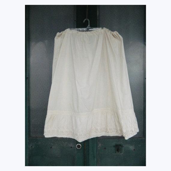 Antique Victorian Edwardian Plus Size White Cotton Petticoat AS IS