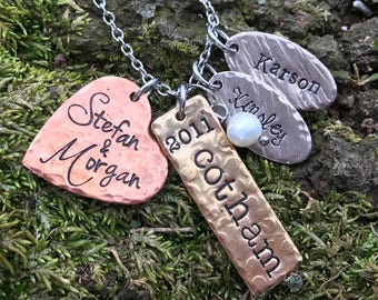 Mixed Metal Handstamped Mom Necklace - Hand Stamped Jewelry Charms shapes heart Handmade Personalized Custom Kid Mother Grandma name Wedding