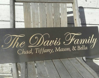 Carved Family name - Sign Personalized - Welcome Sign - Established Date sign