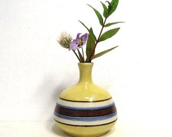 Otagiri Pottery Weedpot/ Vintage Yellow Ceramic Retro Bud Vase with Stripes/ Made in Japan MIJ