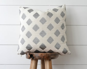 Embroidered Diamond Pillow Cover, Gray & White Decorative Pillow, Geometric Pillow Cover