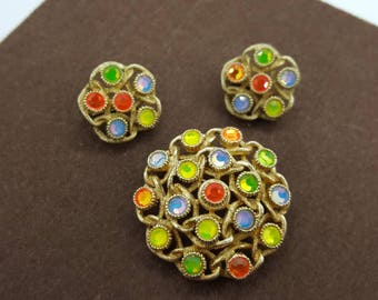 Sarah Coventry Moon Lites Brooch and Clip earrings 1970 mint condition Neon Stones