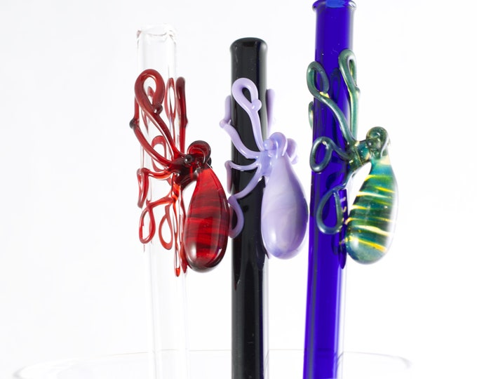 Featured listing image: Octopus Glass Straw in Your Choice of Color