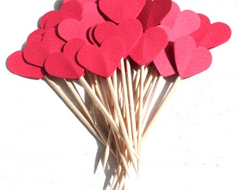 20 Toothpicks heart, Party Picks, Party pieces, Cupcake Topper, Baby Shower Decoration, Birthday Pick, valentin, red heart,