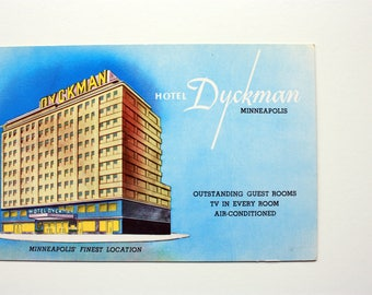Dyckman Hotel Minneapolis Minnesota Postcard /  Vintage Hotel Postcard / Minneapolis Postcard