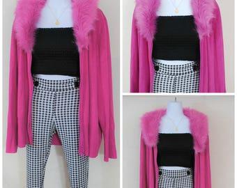 90s Pink Faux Fur Collar Cardigan | VTG 90s Y2K Clueless Cardigan