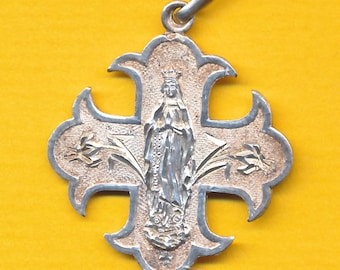 Antique french sterling silver religious medal Our Lady of Lourdes - flowers (ref 1119)