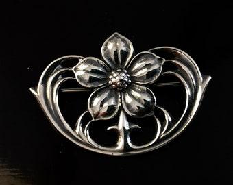 Vintage James Avery Sterling Silver Flower Brooch Pin - Retired Design