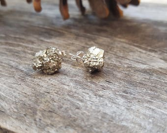 Pyrite Studs Raw Pyrite Earrings Sparkly Earrings Silver Stud Earrings Minimalist Jewelry Modern Jewelry Bridesmaid Gift Pyrite Jewelry