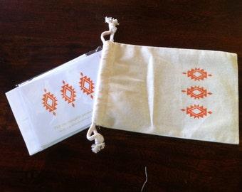 Letterpress Notecard Gift Set in hand print muslin bag
