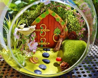 "Hobbit Terrarium Kit ~ 8"" Air Plant Terrarium Kit ~ Fairy Garden with Birdbath / Gnome Garden ~ Wooden Door ~ 3 airplants ~ Gift ~ Christmas"