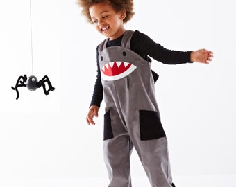 Shark dungaree childrens Halloween dress up overalls by Wild Things