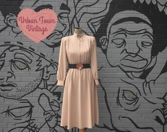 Vintage Biege Shutter Pleated Belted Dress (Size Small/Medium)