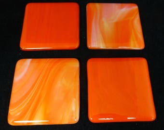 Fused Glass Coasters rich orange opal and streaky orange design combo - set of four
