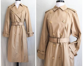 I. Magnin Trench / 90s Double Breasted Camel Tan Trench Coat / Vintage Designer Trench Coat / Classic Rain Trench Coat W/ Button Out Linner