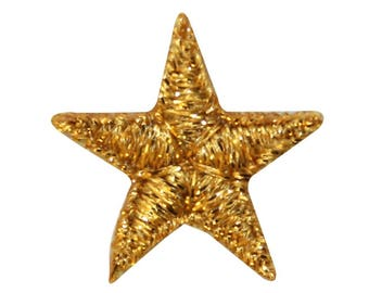 ID 3536 Shiny Gold Star Patch Night Sky Shinning Embroidered Iron On Applique