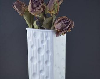 Vintage White Vase, Eschenbach West Germany, Mid Century Modern Vase, Glazed White Porcelain Vase, Moon Decor, Space Age Home Decor