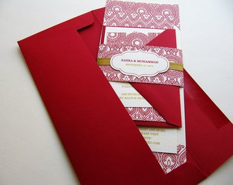 Indian Wedding Invitation. Henna Mehndi Party Invitation. Hindu Vivaha Invitation. Sikh Anand Karaj Invitation. Red and Gold– SAMPLE