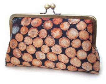 Log stack clutch bag, wood print purse, lumberjack, lumberjill, tree trunk, wood slice, timber silk purse