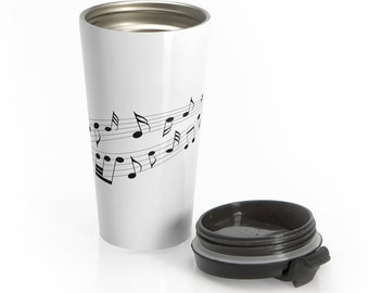 Travel Mug Flowing Musical Notes Stainless Steel Insulated Musician Gift