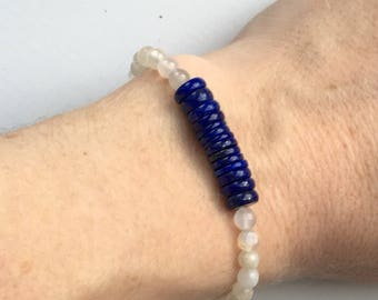 Lapis Lazuli and Moonstone bracelet for Luck and inner growth