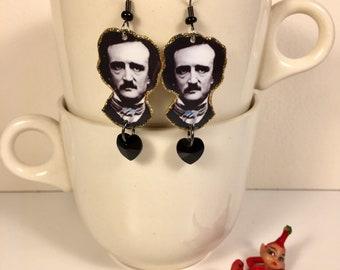 Edgar Allan Poe Earrings Never More The Raven Tell Tale Heart Melancholy Author