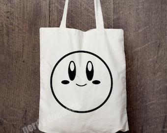 KIRBY Inspired Bag, Cute Kirby Faces Bag, Market Bag, Reusable Grocery Bag, Tote Bag, Canvas Tote Bag, Nintendo Fandom