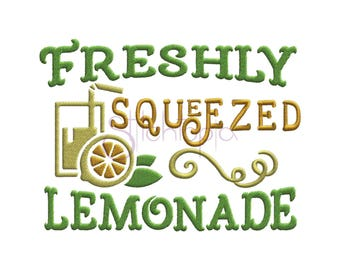 Freshly Squeezed Lemonade Summer Machine Embroidery Digitized Design Pattern
