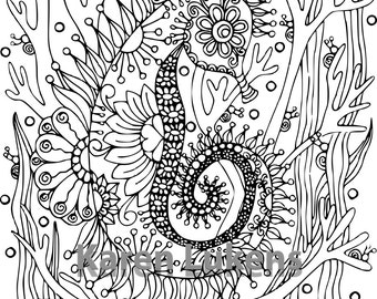5 Pages, Ocean Pack #2 , 5 Adult Coloring Book Pages, Printable Instant Download