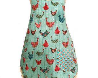 Full Figured  Rooster Country Chic Apron, Woman's full apron one size fits most
