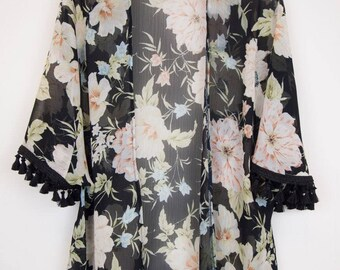 Kimono Cardigan/Chiffon Kimono/tassle trim kimono/floral kimono/Kimono jacket/Summer coverup/womens clothing/holiday fashion/ gifts for her