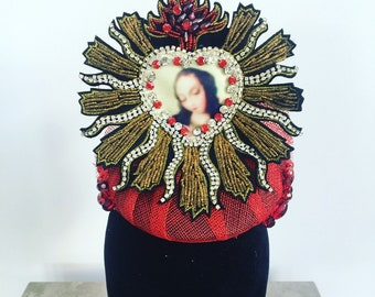Red, Black and Gold Beaded Fascinator