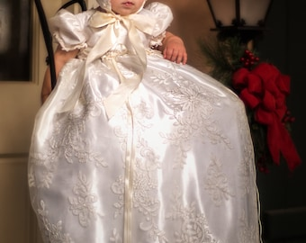 Gracy  Silk-Lace Christening Gown