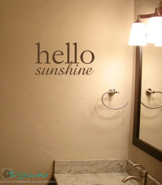 Flight Bathroom Door: Hello Sunshine Vinyl Lettering Bathroom Decor Home Decor
