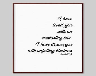 Jeremiah 31:3 Scripture Canvas Wall Art - I have loved you with an everlasting love