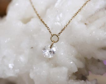 """14K Gold & White Topaz Necklace, """"Falling Star"""" Necklace, Floating Stone, Dainty Jewelry, Boho, Fashion Jewelry, Gifts for Her, Handmade"""