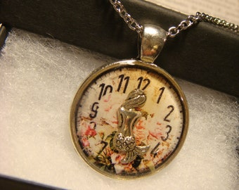 Mermaid over Floral Clock Pendant Necklace (2587)