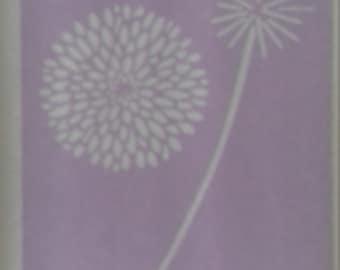 "Chrysanthemum flower wall decor stencil bedroom living room kitchen 8"" x 4"""