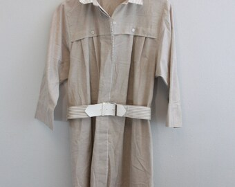SALE Vintage 80s Belted Shirt Dress Khaki dress by EJM