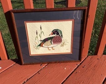 Vintage needlepoint duck picture