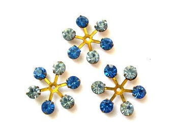 6 Vintage SWAROVSKI beads brass setting flower with 2 blue shades rhinestone crystals 17mm
