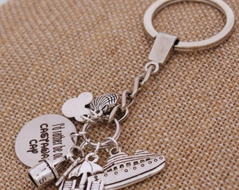 I'd Rather Be On Castaway Cay DISNEY Inspired, Disney Cruise, Fish Extender Custom Name Charm Custom Name Charm Keychain
