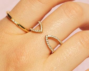 Arrow ring - cz ring - tiny cz gold ring - tiny ring - open ring - gold stacking ring - tiny gold ring - gold cz ring - pave ring -B1-R-0143